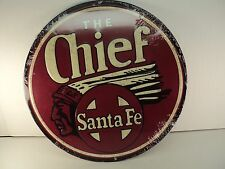 For Your Lionel Room!  Santa Fe Round Metal Sign!  Great Colors!  $6.75 Ship USA