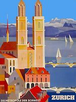 Zurich Switzerland Swiss Suisse Vintage European Travel Advertisement Poster 2