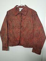 Coldwater Creek Women's Blazer Jacket Size Medium Red Brown Tapestry