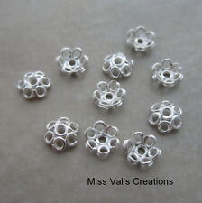 10 sterling silver 5mm bright wire bead caps