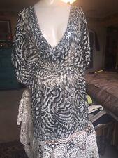 RESORT WEAR Black Sheer Animal Print Tunic  Blouse Size L Sexy Silver Bead HOT!