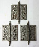 """3 Antique Steeple Tip Cast Iron Eastlake Victorian Door Hinges 4.5"""" x 4.5"""""""