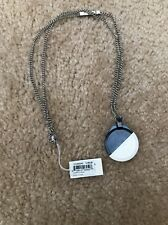 NIB DIESEL St Steel Blue/Wht Silicone Disc Necklace. DX-0466 .. cheapest on ebay