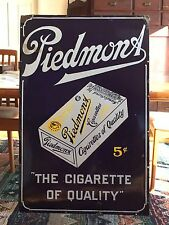"Rare Large 30X46"" c 1920 Piedmont Cigarettes 5¢ Advertising Porcelain Barn Sign"