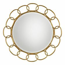 """Gold Chain Link Iron Round Wall Mirror 35"""" 