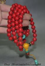"20"" Old Chinese Buddhism Temple Red coral Turquoise Prayer Beads Amulet Necklace"