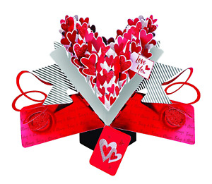 I LOVE YOU Red Hearts Pop Up Card 3D Greeting Card Gift Second Nature