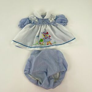 Vintage Baby Outfit Dress Bloomers 12 M Blue Striped Embroidered My Garden