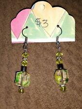 Glow In The Dark Flecks Handcrafted Bead Fishhook Earrings With