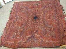 Antique Wool Piano Shawl Paisley Embrpidered 146 Years Old 64 x 124 From 1800'S