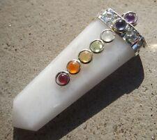 White agate 7 chakra cabochon flat healing pendant