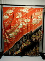 "Japanese kimono SILK""FURISODE"" long sleeves,Gold, Dark-red/Black, L63"",..1514"