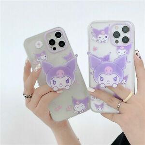 For iPhone 12 11 Pro Max XS XR 7 8+ Cute Cartoon kuromi Stand Holder phone case