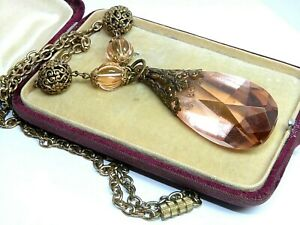 Large Vintage Art Deco Czech 1930's dusky pink glass pendant drop necklace