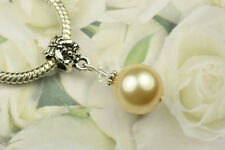 Light Gold Crystal Pearl Dangle Charm Bead European Style w Swarovski Elements