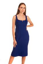 RRP €810 RACHEL GILBERT Sheath Dress Size 4 Stretch Blue V Cut Sleeveless