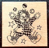"Vintage Rubber Stamp ""Let's Celebrate! Classic Clown"" by  PSX Designs   3 x 3"""