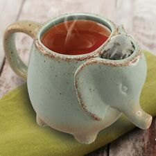 Elephant Tea Mug Mint Green - 10 OZ Heat-resistant Ceramic Cup With Bag Holder