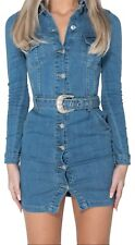 Womens Blue Denim Long Sleeve Cowboy Buckle Button Up Belted Mini Dress