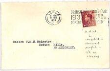 JJ25  GB KEVIII PERFIN 1937 COVER Leeds Sutton Mills Yorks {samwells-covers}