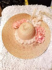Beautiful Antique /Vintage Wide Rim Floral Trim Fashionable Straw Doll Hat