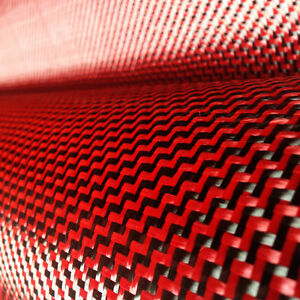 """Carbon Fiber / Red made with Kevlar Cloth Fabric W Weave 40"""" 3k 5.9oz / 200gsm"""