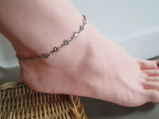 Anklet Ankle Bracelet Heart Design 11.25 in. Chain Stainless Steel Never Tarnish