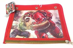 NWT MARVEL AVENGERS AGE OF ULTRON PENCIL CASE 3 RINGS FITS IN BINDER RED