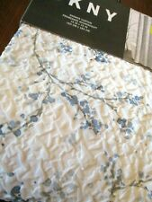 DKNY Promenade Microsculpt Floral Gray  White & Blue Shower Curtain  ~ New