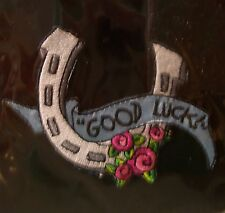 "BETSEY JOHNSON Iron On Patch ""Good Luck"" horse shoe and Roses NEW in PKG Fabric"