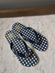 NWOB - TORY BURCH Royal Navy Check Flip Flop Sandals Womens - Size 9
