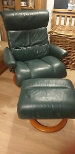 Large Green Ekornes Stressless reclining arm chair With Footstool Delivery