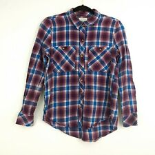 Lucky Brand Womens Purple Plaid Long Sleeve Button Down Flannel Shirt Size XS