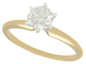 Vintage 0.68ct Diamond & 14k Yellow Gold Solitaire Ring - c.1980 - Size M 1/2