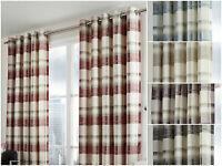 Balmoral Check Tartan 100% Cotton Fully Lined Ready Made Eyelet Curtains