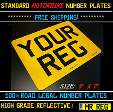 "STANDARD MOTORBIKE / BIKE / MOTORCYCLE NUMBER PLATE SIZE 9"" X 7"""