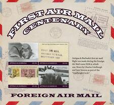 Antigua & Barbuda 2018 MNH 1st Airmail Cent Lindbergh 4v M/S Aviation Stamps