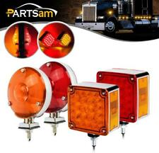 """4xAmber/Red Stop Turn Signal Tail Lights (4"""" Round 24LED+Square 52LED) Universal"""
