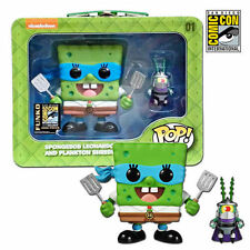 FUNKO POP! SPONGEBOB LEONARDO & PLANKTON SHREDDER 2014 SDCC EXCLUSIVE 1/1000