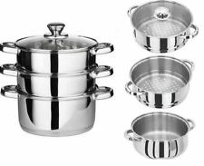 New 24cm 4pc Steamer Cooker Pot Set Pan Cook Food Glass Lids Stainless Steel