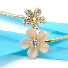 Cute Fashion Women Flower Crystal Gold Plated Cuff Bracelet Bangle Jewelry Chic