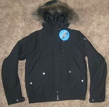 COLUMBIA WOMENS SMALL HOODED NEW JACKET GRINNELL GLACIER BLACK WINTER SKI S NEW