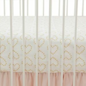 Lambs & Ivy Confetti with Hearts 100% Cotton Baby Fitted Crib Sheet White / Gold