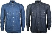 New Mens Denim Shirt Long Sleeves Collar Cotton Casual Top Jeans T Shirt S-2XL