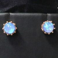 Sparkling Blue Round Fire Opal Earring Stud Women Jewelry 14K Rose Gold Plated