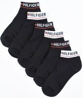 TOMMY HILFIGER Women's 6-pack Combed Cotton Trainer Socks, Black, size 4-7