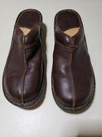 Born Concept BOC Brown Leather MULES Clogs Heels Slides Women's Sz US 11 EUR 43