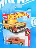 Hot Wheels 2018 HW Flames Series #349 Classic '55 Nomad Orange w/ 5SPs