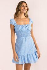 Sundae Muse Pia Dress Blue White Floral Sundress Mini Cotton Shirred 10 New BNWT