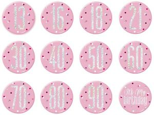 """13th-100th Pink and Silver Glitz Birthday 3"""" Pin on Badge Party Decorations"""